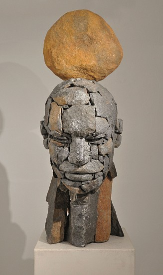 ANGUS TAYLOR, COMPOSITE PORTRAIT III 2015, BELFAST GRANITE AND STAINLESS STEEL